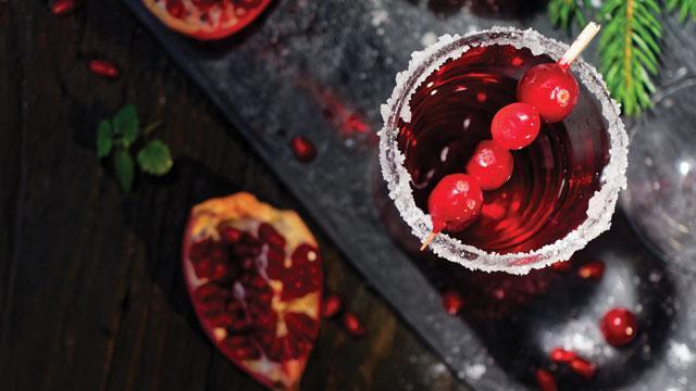 close-up of a festive holiday cocktail