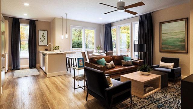 Barton Spring living room at Hidden Spring of McKinney