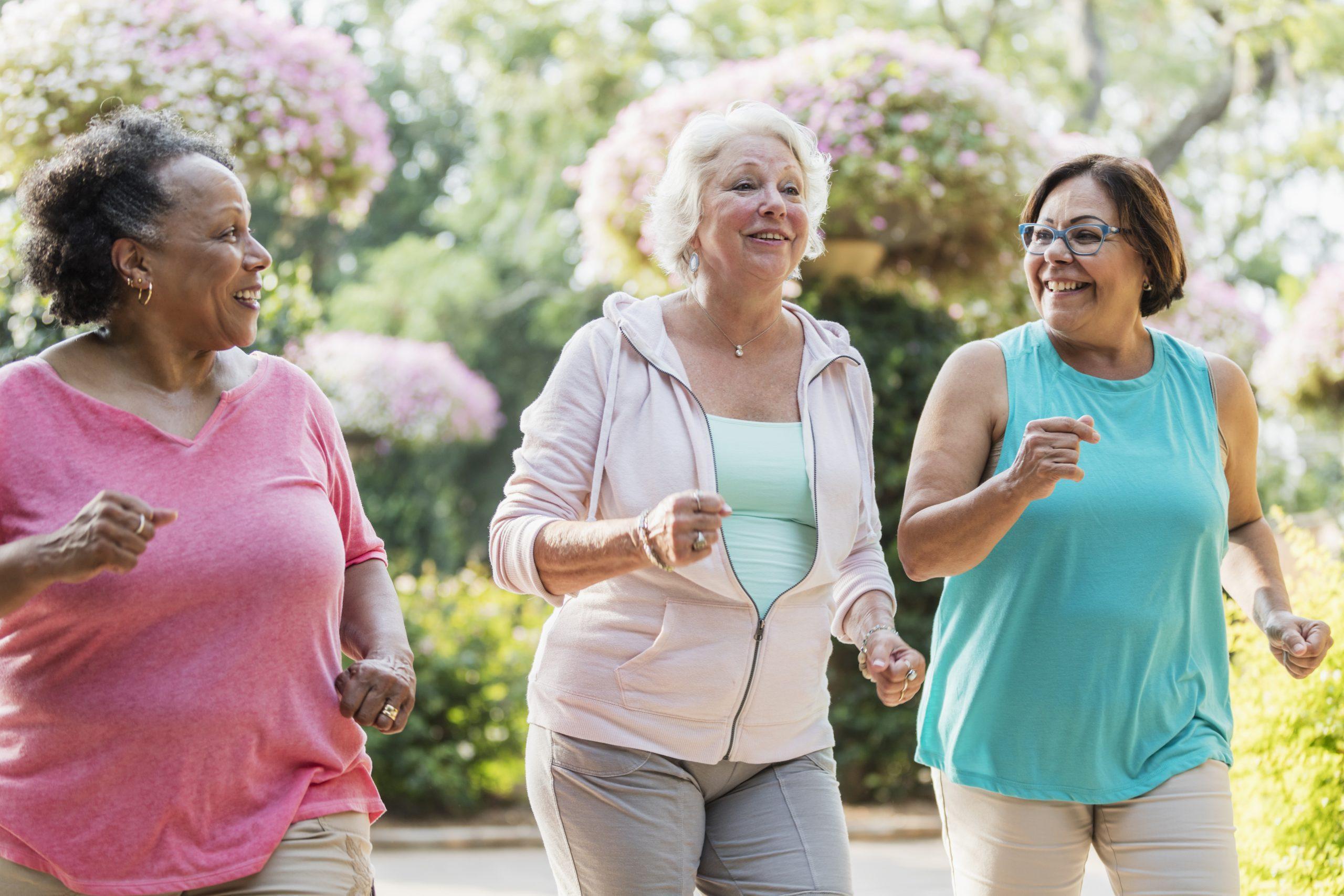 Multi-ethnic senior women exercising together